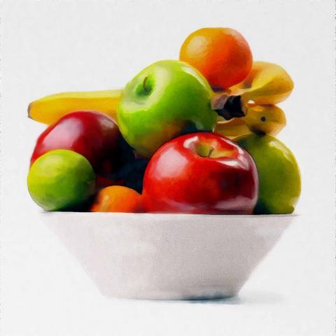 Stilleben Früchte und Schale Dummy Stand