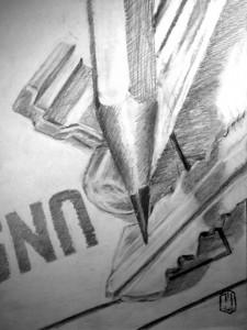 Nahaufnahme Bleistift Schluessel Skizze