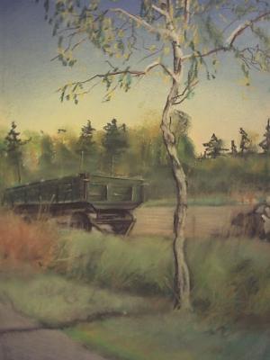 Birke mit Wagen