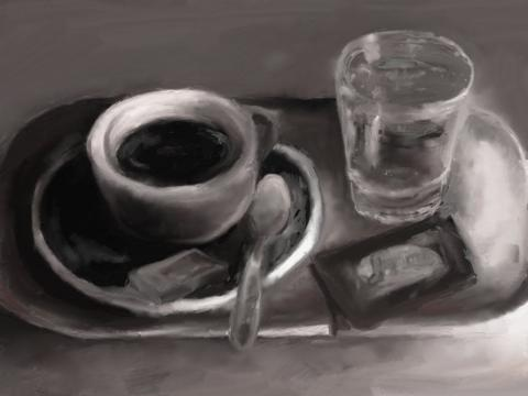Stilleben mit Kaffee und Wasser